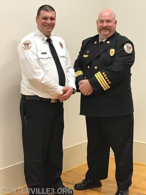 """Lt. John """"JD"""" Boster with District Chief Kevin Jones"""